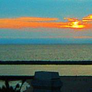 Ocean Sunset With Birds Art Print