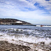Ocean Waves Blue Sky And A Surfer At Malibu Beach Pier Art Print