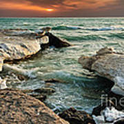 Ocean Waves Lapping At A Shoreline Art Print