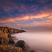 Oceanside Harbor Jetty Sunset 4 Art Print