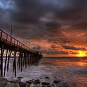 Oceanside Pier Perfect Sunset Ex-lrg Art Print by Peter Tellone