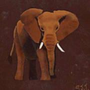 Ocre Elephant Art Print