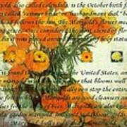 October's Child Birthday Card With Text And Marigolds Art Print