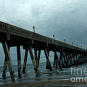 Oean Pier - Surreal Stormy Blue Pier Beach Ocean Fishing Pier With Seagull Print by Kathy Fornal