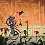 Oh A Pretty Flower - Funny Bmx Flatland Pic With Monika Hinz Art Print