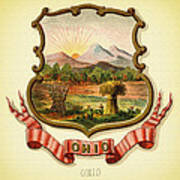 Ohio Coat Of Arms - 1876 Art Print