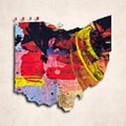 Ohio Map Art - Painted Map Of Ohio Art Print