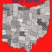 Ohio Map Red Art Print