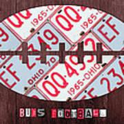 Ohio State Buckeyes Football Recycled License Plate Art Art Print