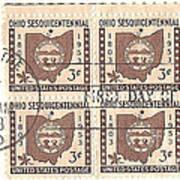 Ohio Three Cent Stamp Plate Block Art Print