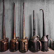 Oil Can Collection Print by Debra and Dave Vanderlaan