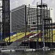 Oil Painting - Floating Platform And Construction Site In The Marina Bay Area Art Print