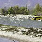 Oil Painting - Front Part Of School Bus In A Mountain Stream On The Outskirts Of Srinagar Art Print