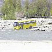 Oil Painting - School Bus In A Mountain Stream On The Outskirts Of Srinagar Art Print