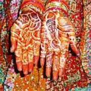 Oil Painting - Wonderfully Decorated Hands Of A Bride Art Print