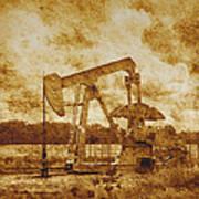Oil Pump Jack In Sepia Two Art Print