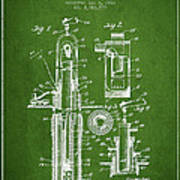 Oil Well Pump Patent From 1912 - Green Art Print