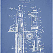Oil Well Pump Patent From 1912 - Light Blue Art Print
