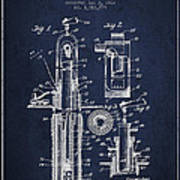 Oil Well Pump Patent From 1912 - Navy Blue Art Print