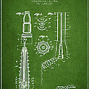 Oil Well Reamer Patent From 1924 - Green Art Print