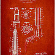 Oil Well Reamer Patent From 1924 - Red Art Print
