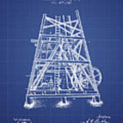 Oil Well Rig Patent From 1893 - Blueprint Art Print