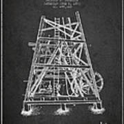Oil Well Rig Patent From 1893 - Dark Art Print
