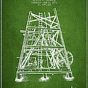 Oil Well Rig Patent From 1893 - Green Art Print