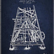 Oil Well Rig Patent From 1893 - Navy Blue Art Print