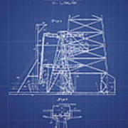 Oil Well Rig Patent From 1917 - Blueprint Art Print