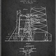 Oil Well Rig Patent From 1917- Dark Art Print