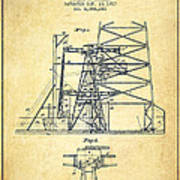 Oil Well Rig Patent From 1917- Vintage Art Print
