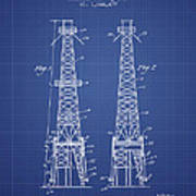 Oil Well Rig Patent From 1927 - Blueprint Art Print