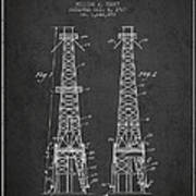 Oil Well Rig Patent From 1927 - Dark Art Print