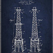 Oil Well Rig Patent From 1927 - Navy Blue Art Print