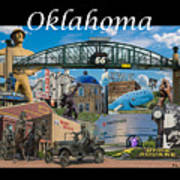 Oklahoma Collage With Words Art Print