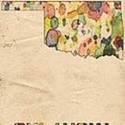 Oklahoma Map Vintage Watercolor Art Print