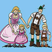 Oktoberfest Family Dirndl And Lederhosen Art Print