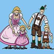 Oktoberfest Family Dirndl And Lederhosen Print by Frank Ramspott