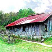 Old Barn Along Golden Road Filtered Art Print
