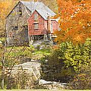 Old Barn And Dam In Autunm Vienna Maine Art Print