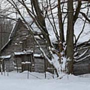 Old Barn In Winter Art Print