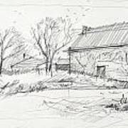 Old Barn Sketch Art Print