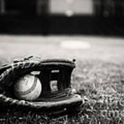 Old Baseball And Glove On Field Print by Danny Hooks