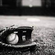 Old Baseball And Glove On Field Art Print