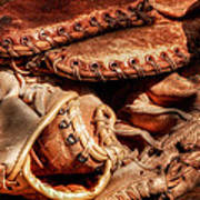 Old Baseball Gloves Art Print