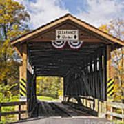 Old Bedford Village Covered Bridge Entrance Art Print