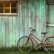 Old Bicycle Leaning Against Grungy Barn Art Print by Sandra Cunningham