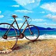 Old Bike At The Beach Art Print by Kostas Koutsoukanidis
