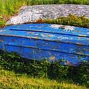 Old Blue Boat Art Print
